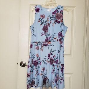 Sky blue floral print dress soft material size XL